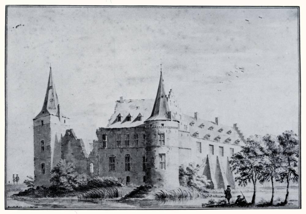Kasteel Daelenbroeck in Herkenbosch. Tekening Jan de Beijer, 1744